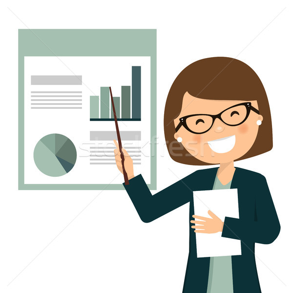Smiling businesswoman in a business presentation with statistics Stock photo © Imaagio