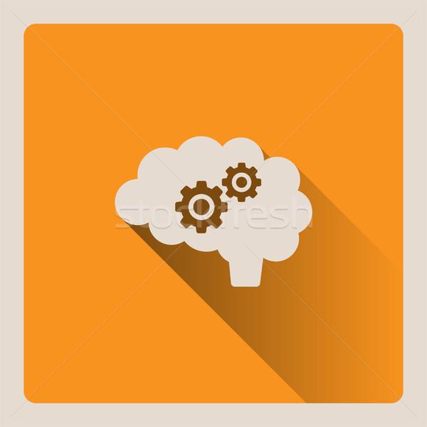 Brain thinking illustration on yellow background with shade Stock photo © Imaagio