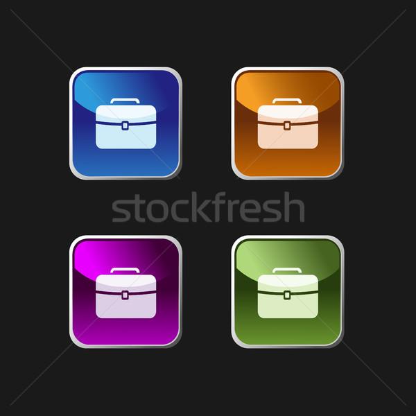 Briefcase icon on colored square web buttons Stock photo © Imaagio