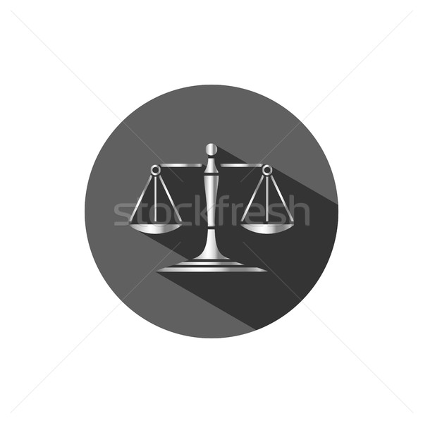 Silver scales of justice icon with shadow on a dark circle Stock photo © Imaagio