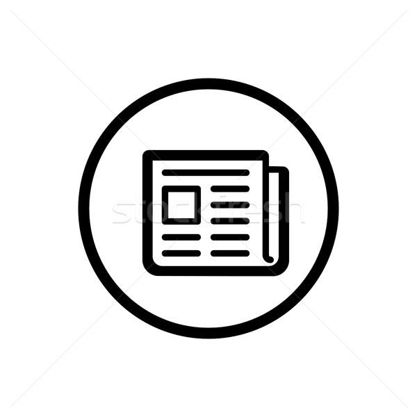 Newspaper line icon in a circle and a white background Stock photo © Imaagio