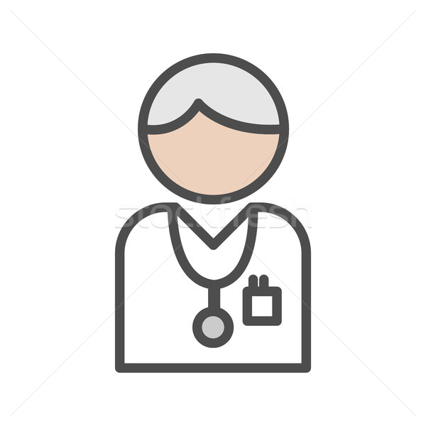 Doctor icon with grey hair on white background Stock photo © Imaagio
