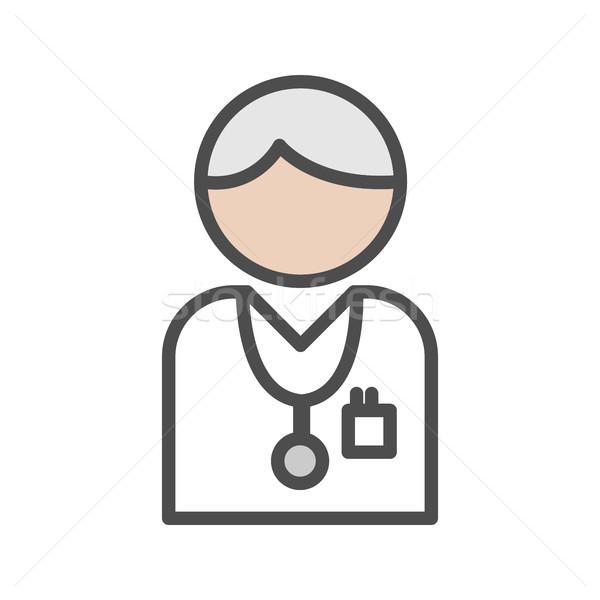 Lekarza ikona siwe włosy biały zdrowia muzyka Zdjęcia stock © Imaagio