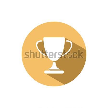 Trofeum ikona cień żółty kółko projektu Zdjęcia stock © Imaagio