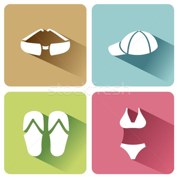 лет одежды иконки тень белый вектора Сток-фото © Imaagio