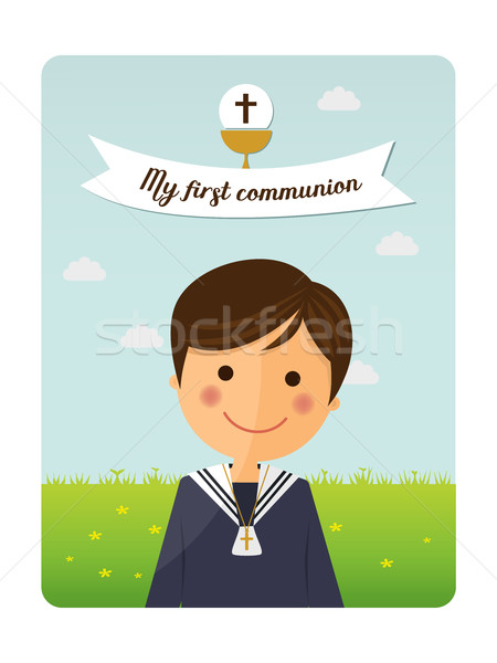 Première communion enfant premier plan invitation un message illustration Photo stock © Imaagio