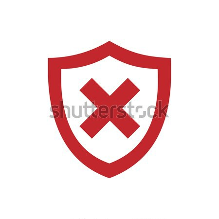 Unprotected shield icon on black and white background Stock photo © Imaagio