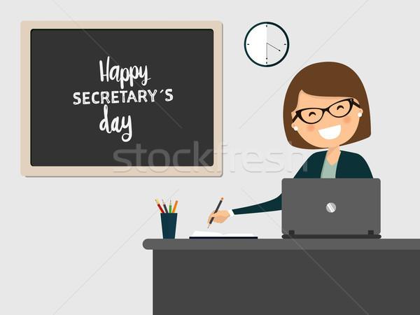Sekretarz uśmiechnięty pracy szary komputera szczęśliwy Zdjęcia stock © Imaagio