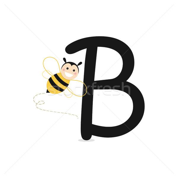 Alphabet abeille printemps école heureux fond Photo stock © Imaagio