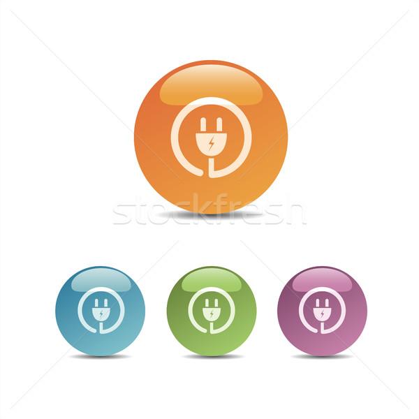Plug icon gekleurd bubbels ontwerp teken Stockfoto © Imaagio