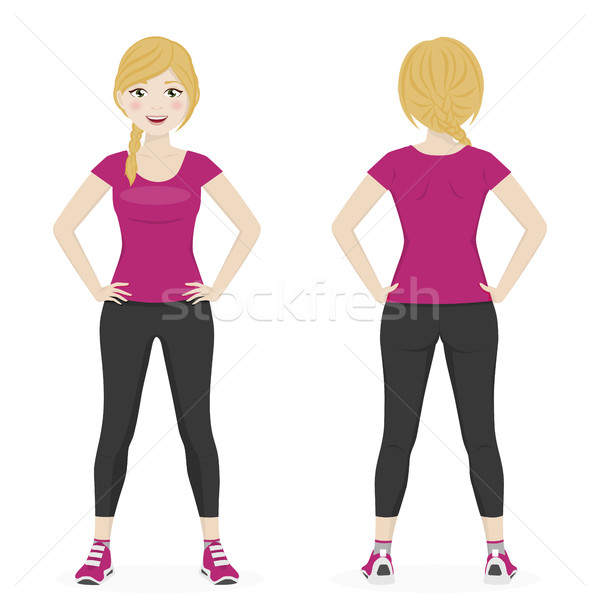 Blond woman with a braid playing sport with pink and black sportswear Stock photo © Imaagio