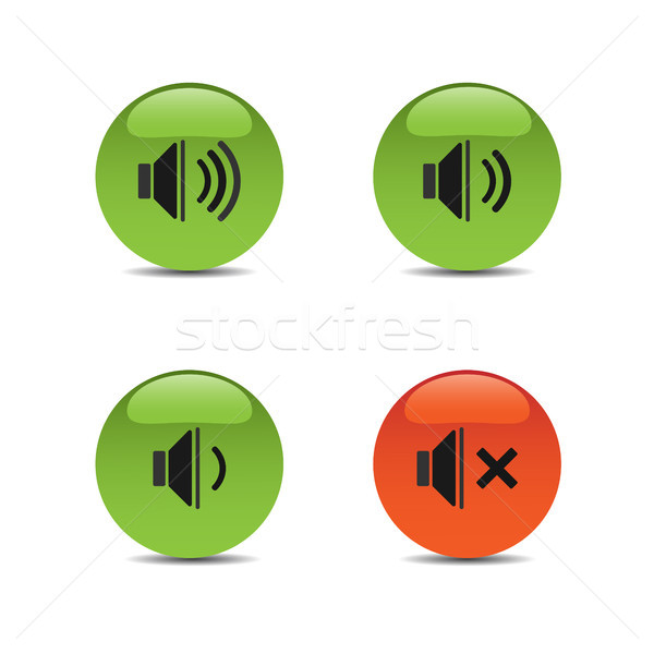 Sound icons on colored buttons and white background Stock photo © Imaagio