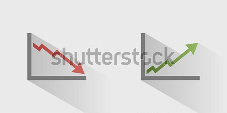 Bankruptcy chart icon with shade on grey background Stock photo © Imaagio