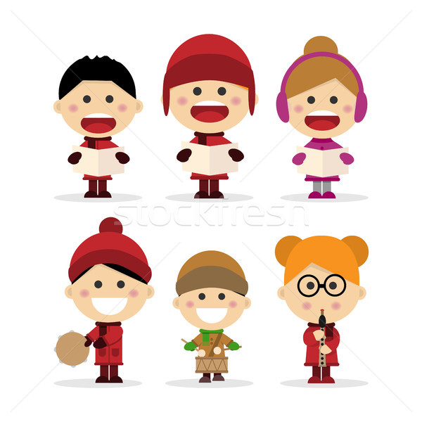 Group of children singing Christmas carols on white background Stock photo © Imaagio