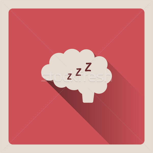 Stock photo: Brain thinking in sleep illustration on red background with shade