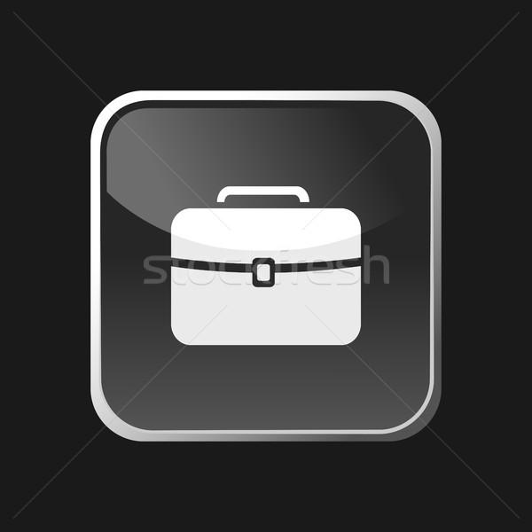 Briefcase icon on square web button and black background Stock photo © Imaagio