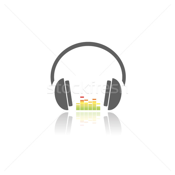наушники музыку икона белый отражение черный Сток-фото © Imaagio