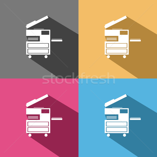 Stock photo: Photocopier icon on colored backgrounds