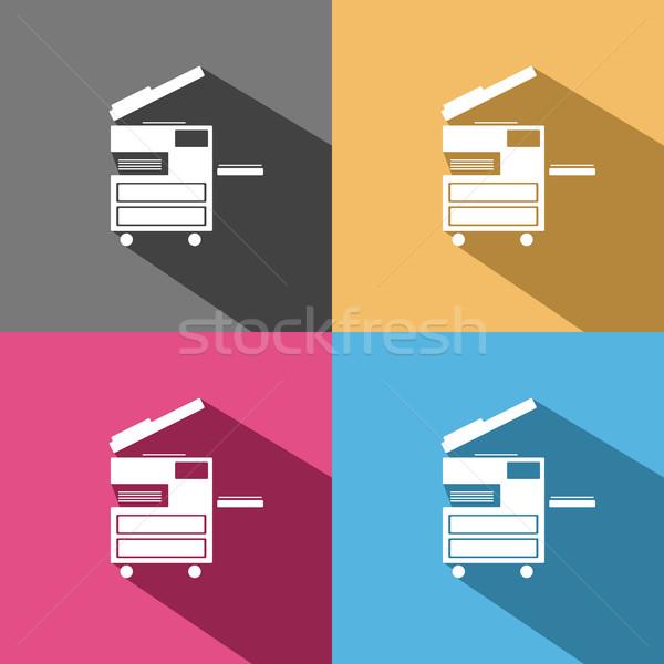 Photocopier icon on colored backgrounds Stock photo © Imaagio