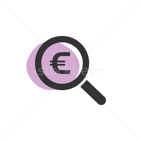 Magnifying glass looking for euro isolated web icon Stock photo © Imaagio