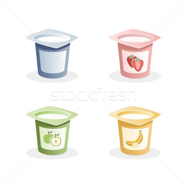 Joghurt ízek kanál bent fehér étel Stock fotó © Imaagio
