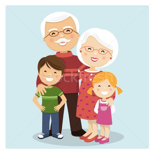 счастливым дедушка и бабушка внучата синий улыбка детей Сток-фото © Imaagio