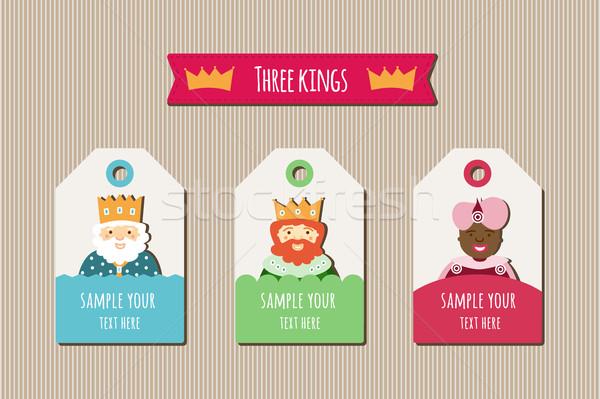 Három királyok címkék karácsony ajándékok család férfi Stock fotó © Imaagio