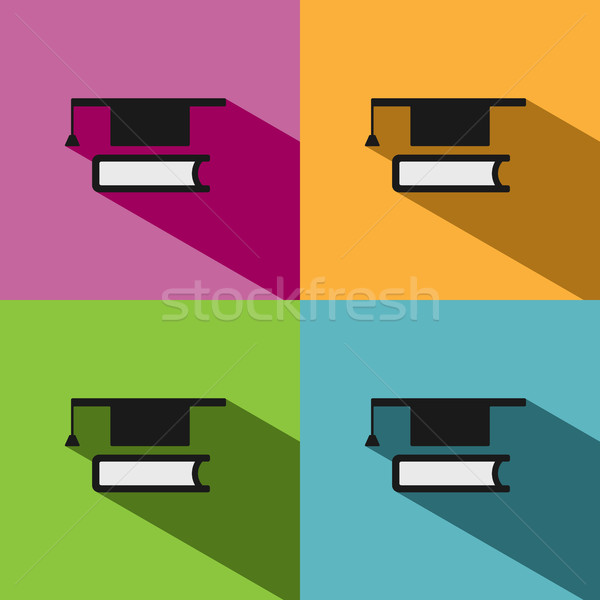 Mortarboard with book icon on colored backgrounds  Stock photo © Imaagio