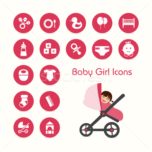 Baby girl on stroller icons set Stock photo © Imaagio