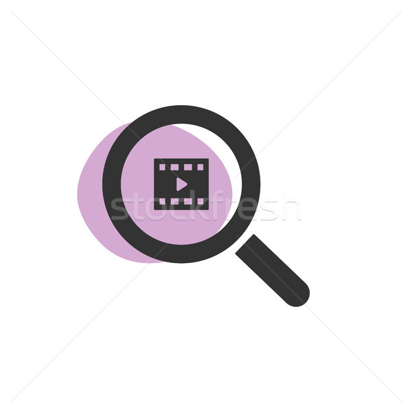 Magnifying glass looking for videos isolated web icon Stock photo © Imaagio
