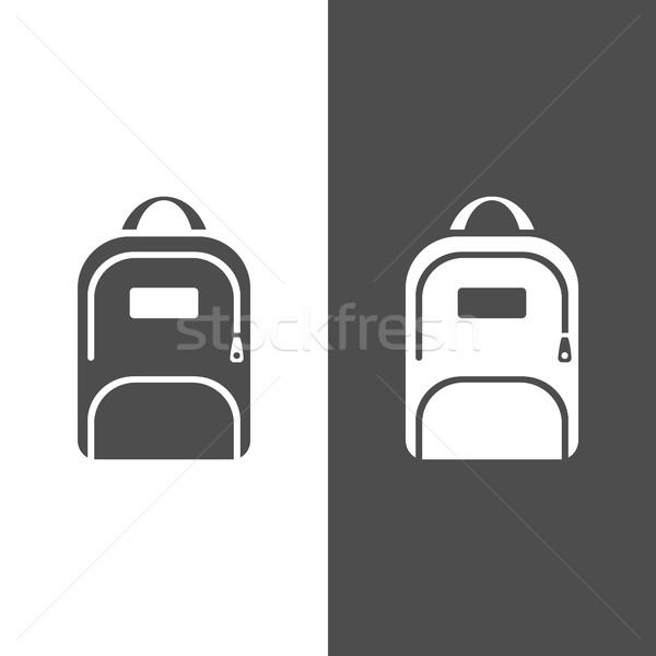 рюкзак икона темно белый студент искусства Сток-фото © Imaagio