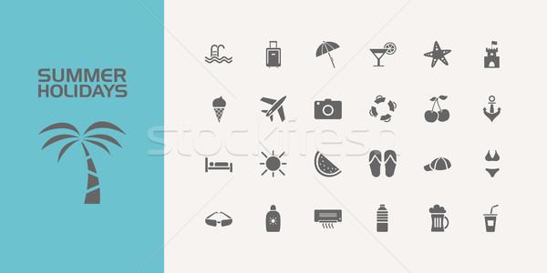 Twenty five summer holidays icons set Stock photo © Imaagio