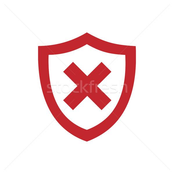 красный щит икона белый дизайна фон Сток-фото © Imaagio