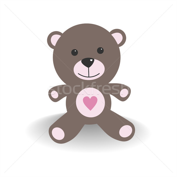 Pink teddy bear with shade on a white background Stock photo © Imaagio