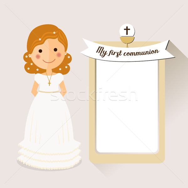 My first communion invitation with curly hair girl Stock photo © Imaagio
