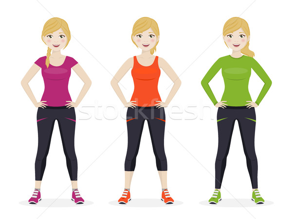 Woman playing sport with different clothes Stock photo © Imaagio