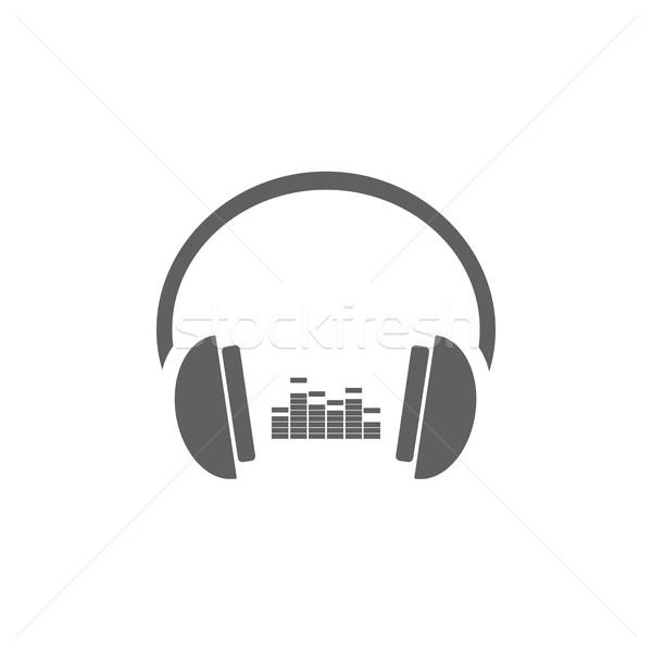 наушники музыку икона белый дизайна технологий Сток-фото © Imaagio