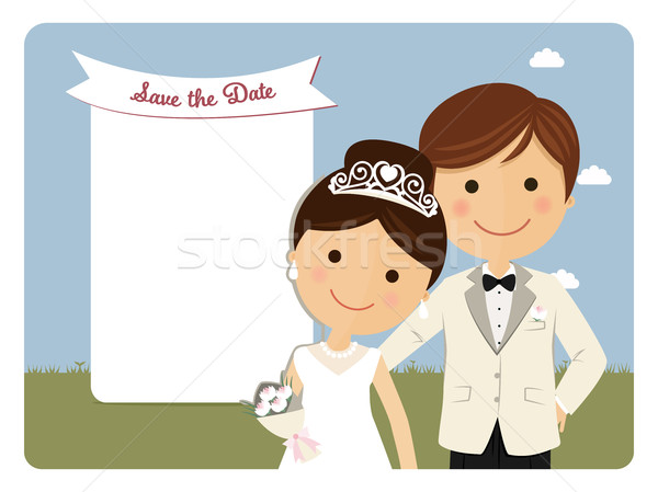 Princely style couple foreground for wedding invitation on blue background Stock photo © Imaagio