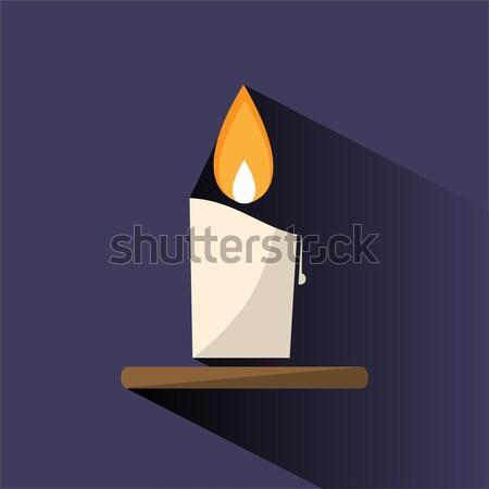 Cera candela icona bianco fuoco amore Foto d'archivio © Imaagio