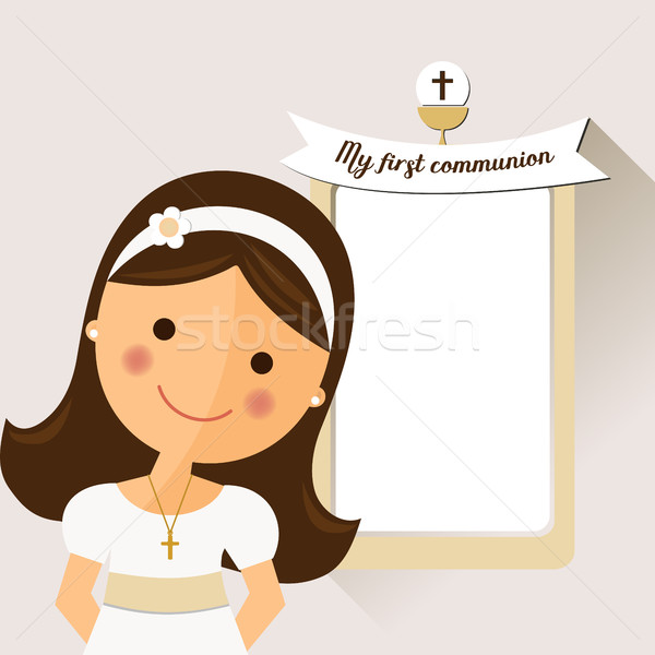 My first communion invitation with message and foreground girls  Stock photo © Imaagio