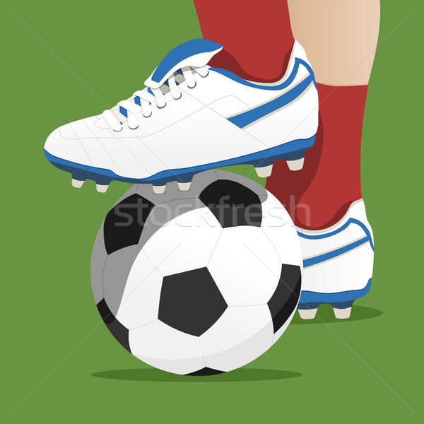 Footballer stepping on the ball in a soccer match Stock photo © Imaagio
