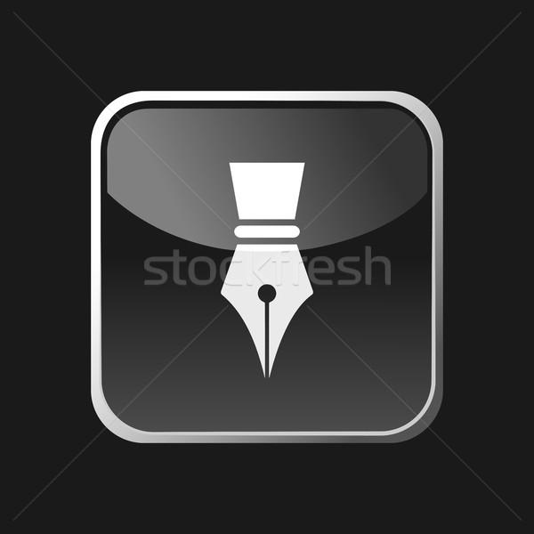 авторучка икона квадратный серый кнопки бизнеса Сток-фото © Imaagio