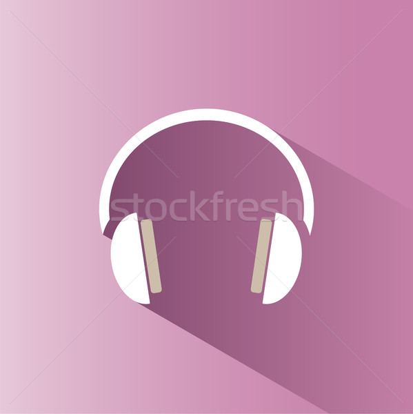 Headphones icon on a pink background with shade Stock photo © Imaagio