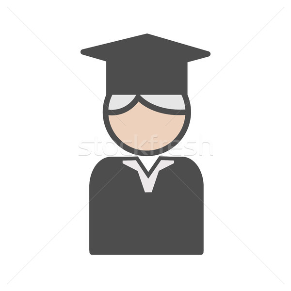 Professor icon with mortarboard and grey hair Stock photo © Imaagio