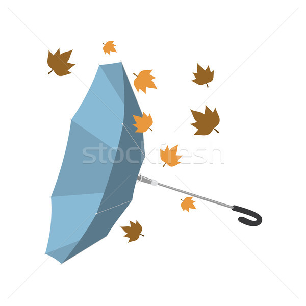 Isolated umbrella invested with autumn leaves Stock photo © Imaagio