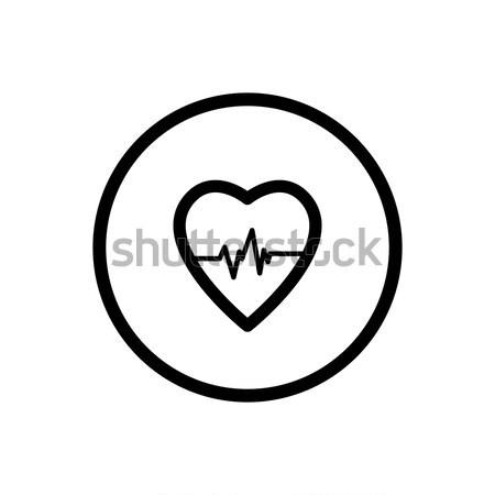 сердце линия икона белый любви аннотация Сток-фото © Imaagio