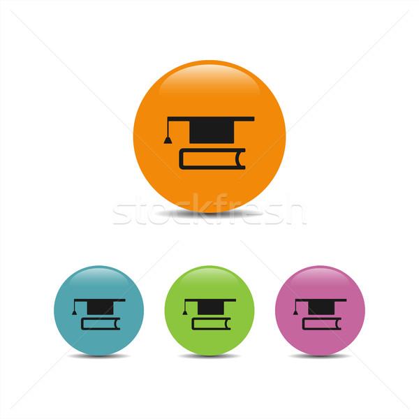 Livre icône bulles illustration école Photo stock © Imaagio