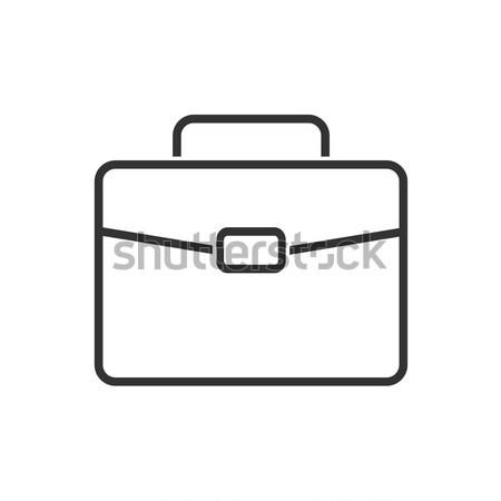 белый портфель икона темно школы дизайна Сток-фото © Imaagio