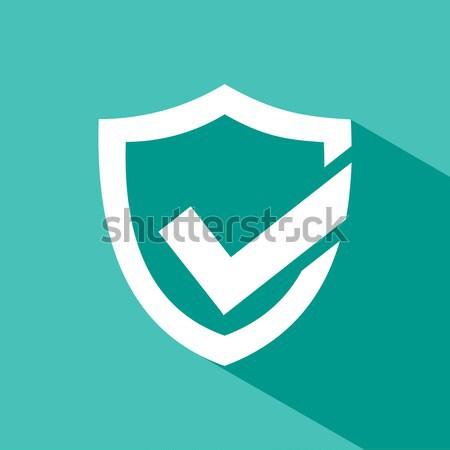 зеленый активный защиту щит икона белый Сток-фото © Imaagio