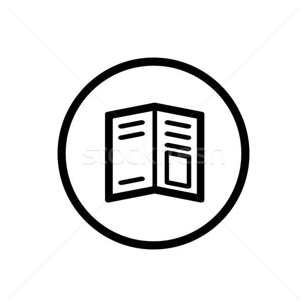 журнала линия икона круга белый бумаги Сток-фото © Imaagio